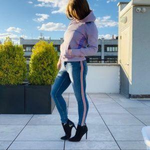Zara Z1975 Distressed Skinny Side Banded Jeans